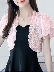 Decorative Lace Patchwork  Plain Cardigans