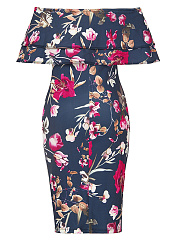 Flounce Off Shoulder Floral Printed Bodycon Dress