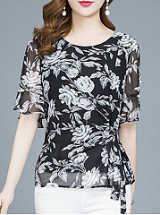 Spring Summer  Chiffon  Women  Round Neck  Bowknot  Floral  Bell Sleeve  Short Sleeve Blouses