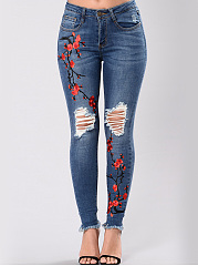 Distressed Embroidery Raw-Hem Slim-Leg Jeans