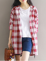 Plaid  Raglan Sleeve  Long Sleeve Trench Coats