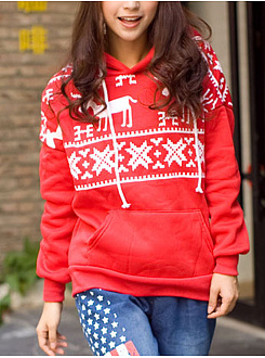 Christmas Printed Fawn Plus Velvet Hoodies