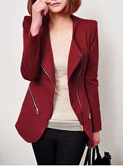 Lapel-Zips-Pocket-Plain-Blazer
