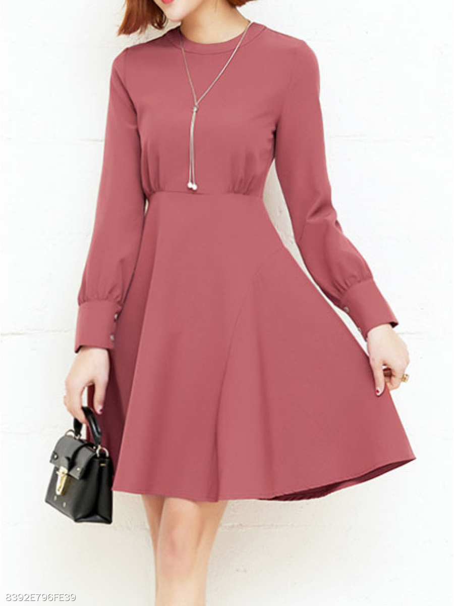 8c2cdfd0b3ee Round Neck Decorative Button Plain Skater Dress - fashionMia.com