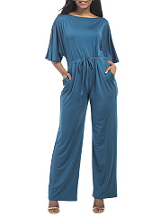 Round-Neck-Drawstring-Plain-Wide-Leg-Jumpsuit