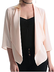 Asymmetric Hem  Plain  Three-Quarter Sleeve Cardigans