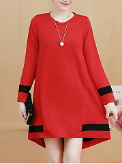 Round Neck High-Low Color Block Shift Dress