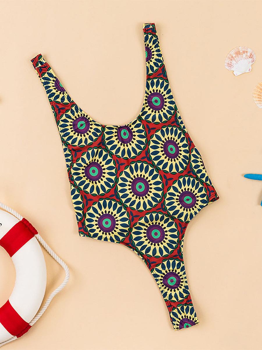 Colorful Scoop Neck Backless Printed One Piece