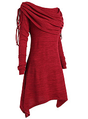 Asymmetric Neck  Asymmetric Hem Drawstring  Plain  Polyester Shift Dress