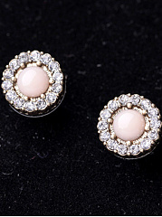Floral-Shaped Rhinestone Stud Earrings