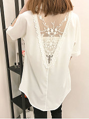 Summer  Polyester  Women  Turn Down Collar  Decorative Lace See-Through  Plain  Short Sleeve Blouses