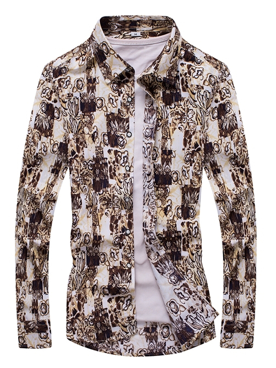 Special Pattern Printed Men Long Sleeve Shirts