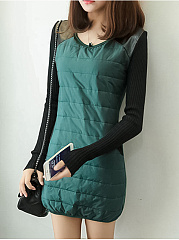 Round Neck  Color Block Casual Shift Dress