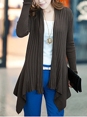 Collarless  Asymmetric Hem  Plain Cardigan