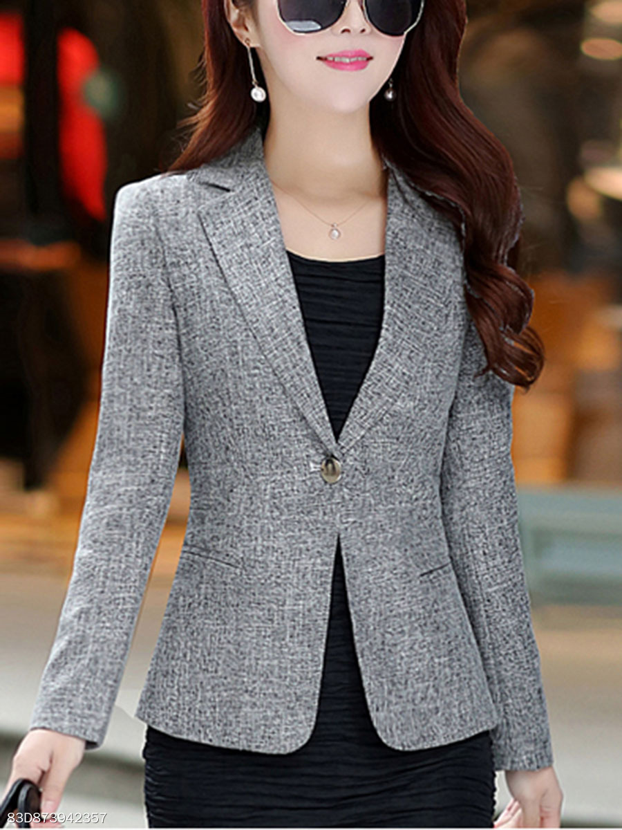 Formal Solid Notch Lapel  Single Button Blazer