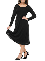 Round Neck  Plain  Polyester Maxi Dress