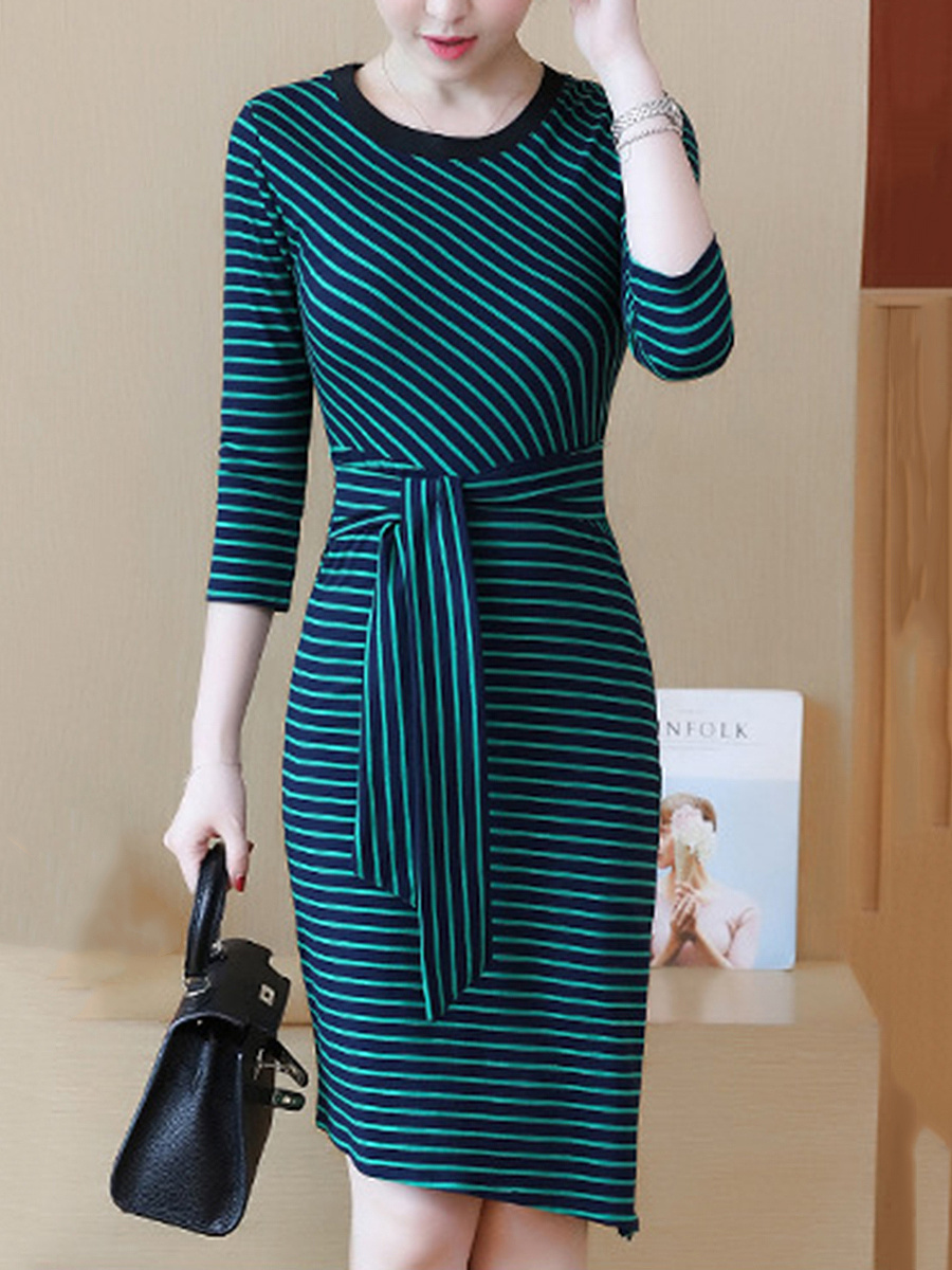 Round Neck  Striped  Blend Bodycon Dress