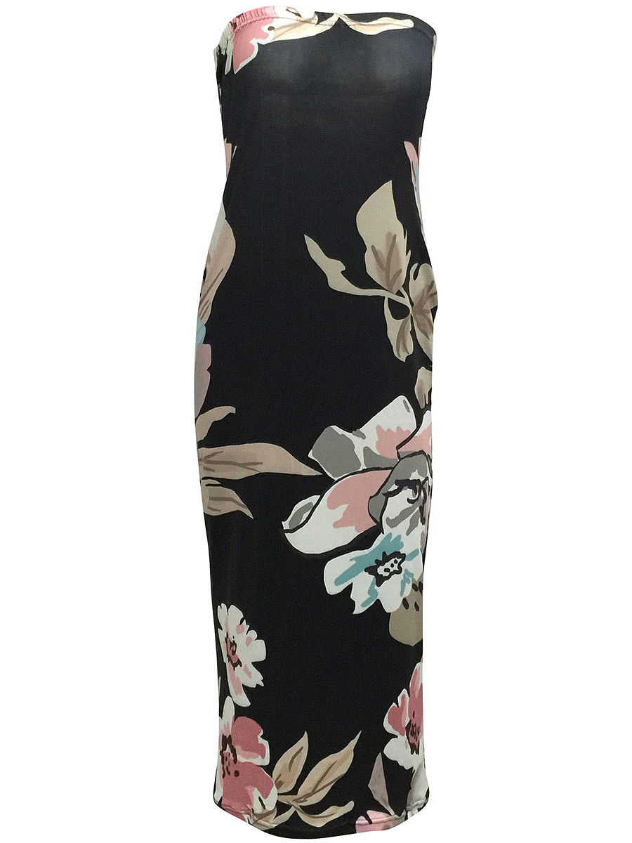 Strapless  Floral  Polyester Maxi Dress