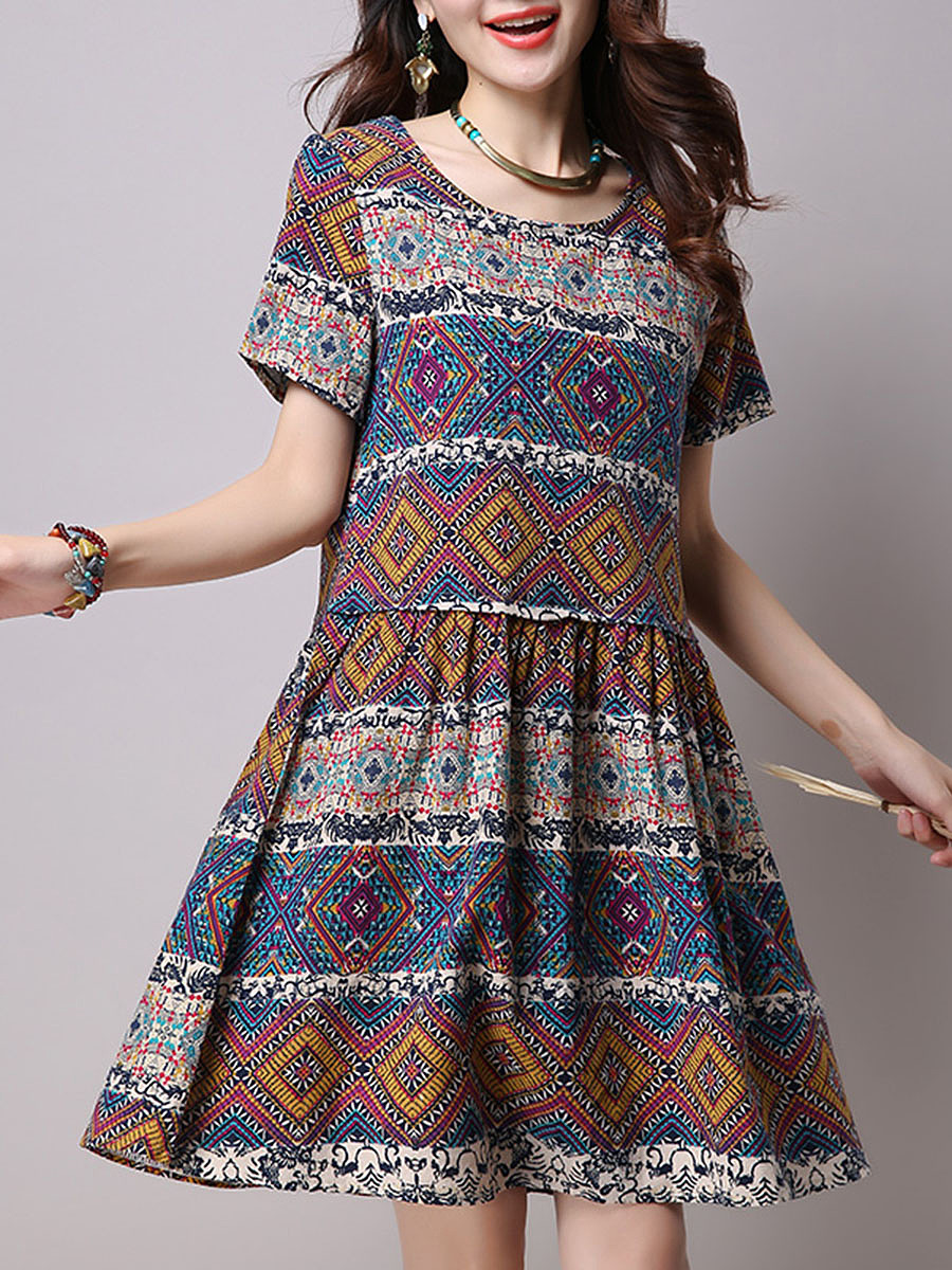 Round Neck  Tribal Printed  Cotton/Linen Shift Dresses