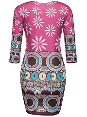 Round Neck Printed Delightful Bodycon Dress