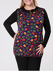 Crew Neck Zips Pocket Printed Plus Size T-shirt
