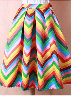 Zigzag Striped  A-Line Elegant Knee-Length Skirts