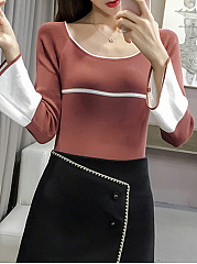 Round Neck  Contrast Piping  Color Block  Bell Sleeve  Long Sleeve Sweaters Pullover