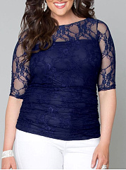 Round Neck  Lace Plain  Half Sleeve Plus Size T-Shirts