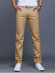 Mens-Casual-Basic-Plain-Pocket-Straight-Pants