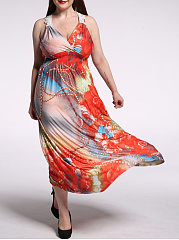 Swing Deep V-Neck Printed Plus Size Maxi Dress With Decorative Lace