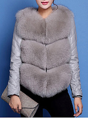 Collarless Patchwork Fluffy Faux Fur Coat