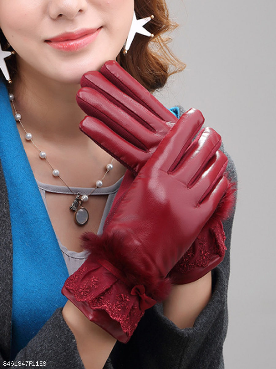 Fur Decorative Leather Gloves