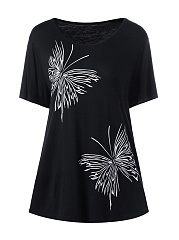 Butterfly Printed Round Neck Plus Size T-Shirt