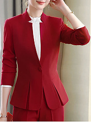 Band Collar  Flounce  Single Button  Plain  Long Sleeve Blazers