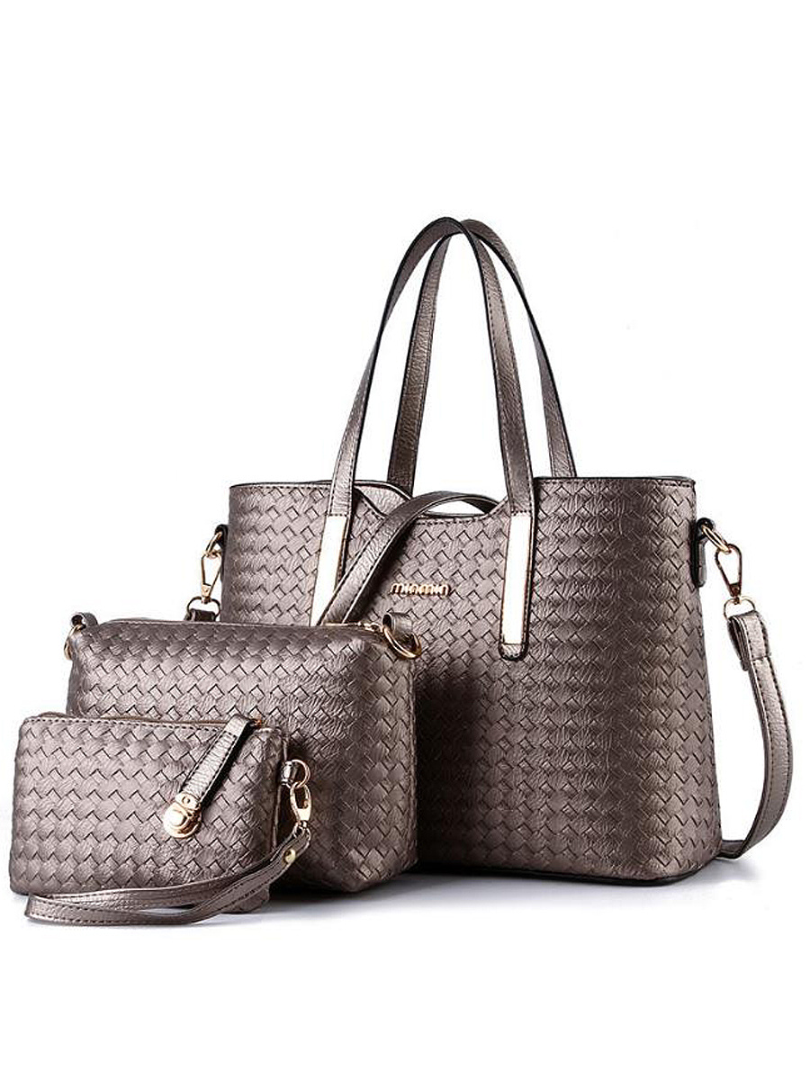 Fall&Winter New Woven Pattern Three  Pieces Shoulder Bag Hand Bag For Women