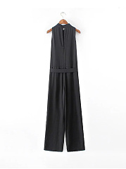 Modern Band Collar Solid Jumpsuit In Black