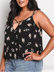 Spaghetti Strap  Abstract Print Floral  Sleeveless Plus Size Blouses&T-Shirt