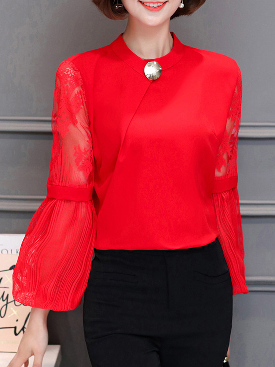 Band Collar Hollow Out Plain Bishop Sleeve Blouse