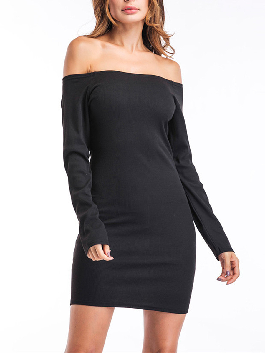 Off Shoulder Two Way Plain Bodycon Dress