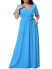 Solid Deep V-Neck Bowknot Empire Plus Size Maxi Dress