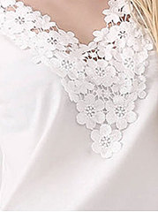 Spring Summer  Polyester  Women  V-Neck  Decorative Lace  Plain  Short Sleeve Blouses
