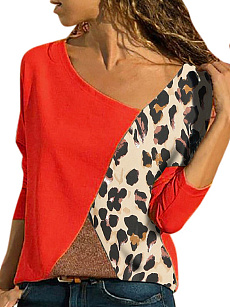 Autumn Spring  Polyester  Women  Round Neck  Color Block Leopard Long Sleeve T-Shirts