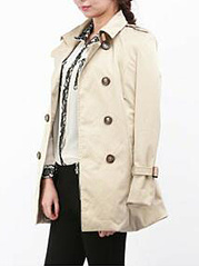 Fold-Over Collar  Double Breasted  Belt  Plain  Long Sleeve Trench Coats