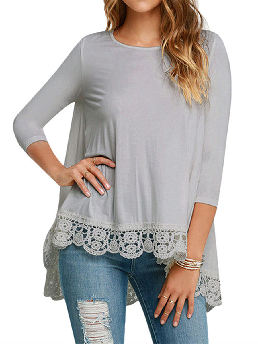 High-Low Decorative Lace Plain Long Sleeve T-Shirt