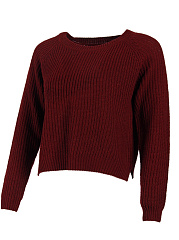 Round Neck  Side Vented  Plain Knit Pullover