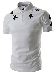 Polo Collar Men Star Number Printed T-Shirt