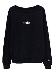 Round Neck  Letters Printed  Long Sleeve Sweatshirts