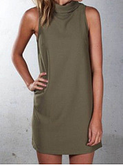 Crew Neck  Plain Shift Dress