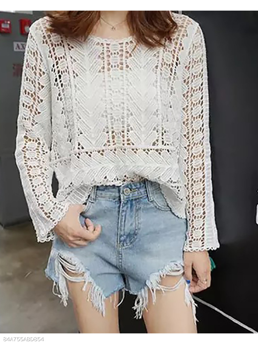 Autumn Spring  Lace  Women  Plain  Long Sleeve Blouses