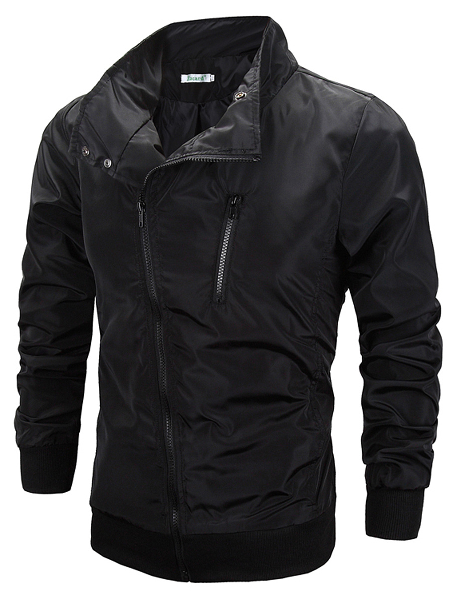 High Neck Zips Plain Men Jacket